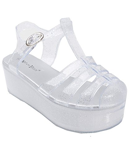 Nature Breeze Disco-01 T-Strap Closed Round Toe Plastic Jelly Flatform Platform Sandal CLEAR (8)