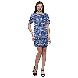 PRAKUM Women's Chiffon Regular Fit Dress Blue White (Large)