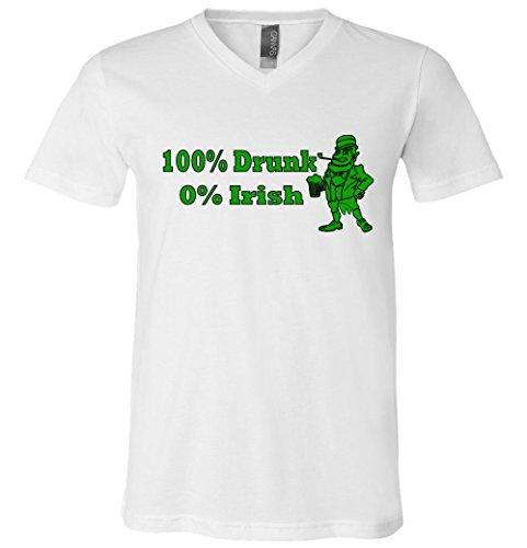 100% Drunk 0% Irish Funny Beer St. Patrick's Day V-Neck T-Shirt