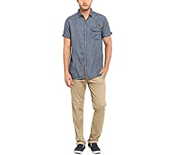 Copperstone Men's Casual Shirt (8903944590755_Grey_X-Large)