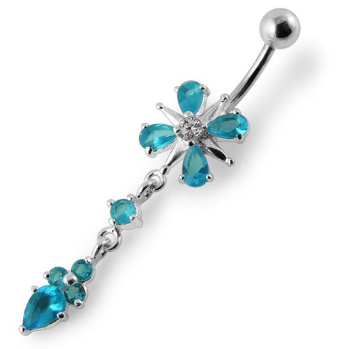 Aquamarine Gem Cross With Flower Dangling 925 Sterling Silver Belly-Navel Ring Body Jewelry