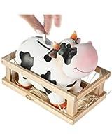 Out Of The Blue - 78/4004 - Tirelire en Terre Cuite Vache dans Boîte en Bois