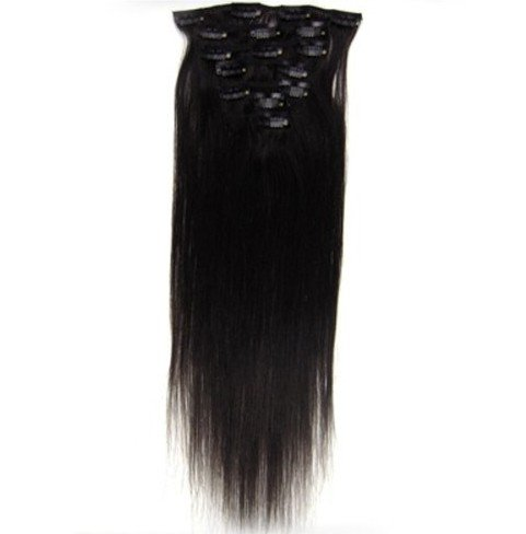 15″ 18″ 20″ 22″ Remy (Remi) Human Hair Straight Clip in Extensions All Colors for Your Choose 7 Pieces(pcs) [Set Weight:70-80 Grams] (20″, #1B Natural Black)