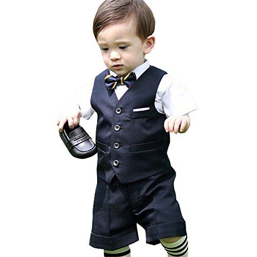 子供 スーツ 男の子 スーツ ベビー フォーマルスーツ 結婚式 七五三 発表会 半袖 ブラック 90cm