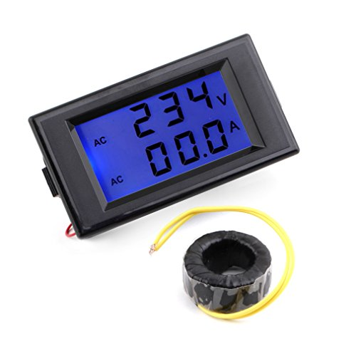 Dpower Ac Digital Ammeter Voltmeter Lcd Panel Amp Volt Meter 100A 300V 110V 220V - Black