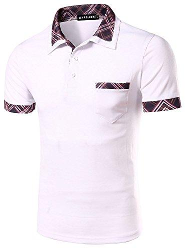 What Lees Mens Urban Casual Basic Short Sleeve Golf Polo Shirts Check Plaid Tartan B002-WHITE-XL (Louis Vuitton Cap compare prices)
