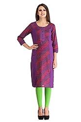 kanah shri Purple Colour Rayon Fabric Round Neck In long Length 3/4th Sleeve Kurta/Kurti For Women/Girls