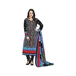 MAC Black Printed Unstitched Salwar Suit for Women