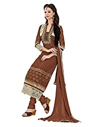 Metroz Women's Brown Colored Georgette Dress Material with Dupatta