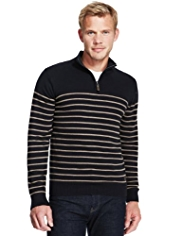 XS Blue Harbour Pure Cotton Half Zip Striped Jumper