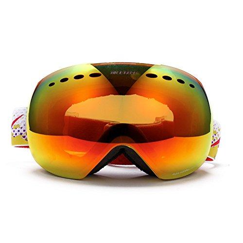 Webetop Uomo Sciare / Snowboard Occhiali sferica doppia lente lenti antinebbia Occhiali da sci senza frame, Giallo (lente rossa)
