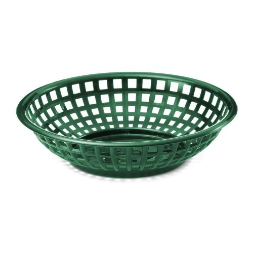 "Tablecraft 1075Fg 8"" Forest Green Chicago Platter Basket - Dozen"