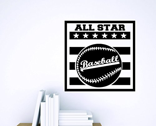 Design with Vinyl Zzz 839 2 Decor Item Baseball All Star Sports Design Boys Kids Bedroom Wall Sticker Decal, 16-Inch x 16-Inch, Black