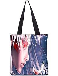 Snoogg Beautiful Blonde Girl Digitally Printed Utility Tote Bag Handbag Made Of Poly Canvas