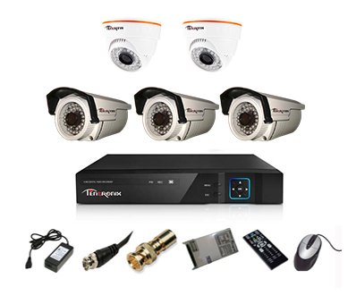 Tentronix T-8ACH-5-B3D2A10 8-Channel AHD Dvr, 2(1MP/36IR) Dome, 3(1MP/36IR) Bullet Cameras (With Accessories)