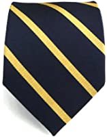 100% Silk Woven Midnight Navy and Gold Trad Striped Tie