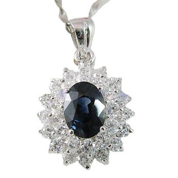 100% Natural Sapphire Pendant in 925 Sterling Silver Valentine's Gift