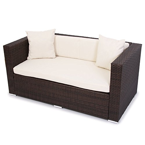 modulares poly rattan alu sofa romv braun meliert 2er sofa. Black Bedroom Furniture Sets. Home Design Ideas