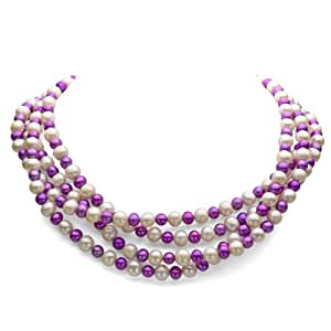 7-8mm White and 5-6mm Dyed Purple Freshwater Cultured Pearl Endless Necklace, 72""