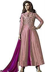 pakiza design new chain silk partywear anarkali suit dress material for festival (1607-PEACH)