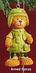 """RUSS 3"""" Very Beary Christmas Ornament """"Armed Forces"""""""
