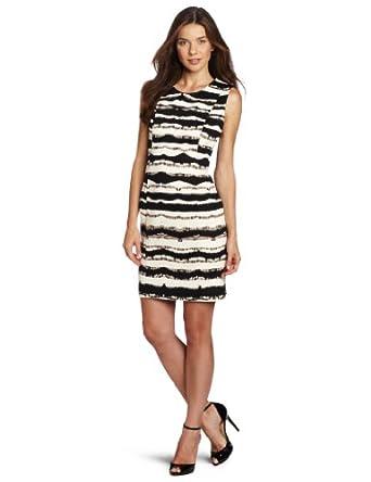 Calvin Klein Women's Printed Shift Dress, Eggshell/Black, 4