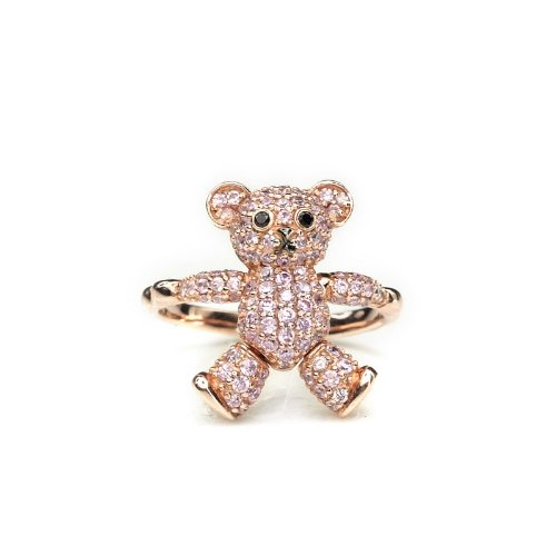 "Silverkings 925 Sterling Silver Pink Cubic Zirconia Paved Teddy Bear Ring / Pendant /W Purple Chain (22"")"