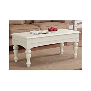 Off white coffee table distressed wood for Coffee tables amazon
