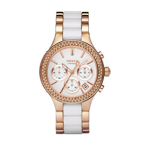 DKNY Ceramic Link Rose Gold-plated Ladies Watch NY8183
