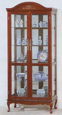Cheap Queen Anne Style Cherry Finish Wood Curio China Cabinet (VF_3397)