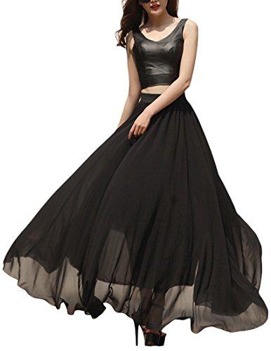 VOGLLY Women's Solid Full Length High Waist Long Maxi Boho Beach Chiffon Skirt Size 12 US Black