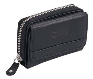 Petit portemonnaie OTARIO , cuir véritable, noir 10,5x8x3cm