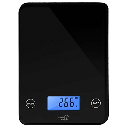 Smart Weigh GLS20 Digital Glass Top Kitchen and Food Scale, Audible Touch Buttons, 5-unit Modes, Liquid Measurement Technology, Professional Design, Black