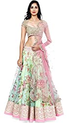 Nilkanth Enterprise Net White Pink Lehenga