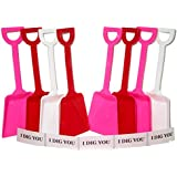 Toy Plastic Shovels Red White & Pink, 24 Pack, 7 Inches Tall, 24 I Dig You Stickers