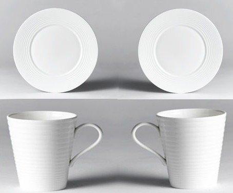 Gordon Ramsay Tableware by Royal Doulton, Boxed White Bone China Starter Set - 2 x Mug, 2 x 27cm Plate and 2 x 16.5cm Plate