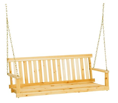 Jack Post Jennings Traditional 4-Foot Swing Seat in Unfinished Solid Fir with Hang Chain
