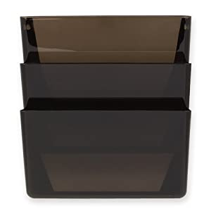 Rolodex Rubbermaid Stak A File Wall Mounted File Sorter 3 Pocket Letter Smoke