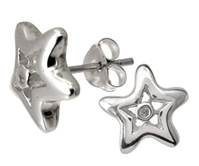 Silver Diamond Star Earrings