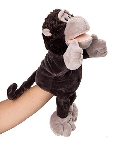 "Flexibuy 12"" Babies Toddlers Velour Cute Black Gorilla Chimpanzee Ape Full Body Hand Puppet Toys"