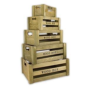 """Aufbewahrungsbox """"Vintage"""" Holzkisten 5er Set braun Holzboxen Holzkiste Holzbox Dekokiste Kiste Deko Weinkiste Box Kisten Boxen Aufbewahrung Regal"""