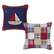 Boys Stripes and Plaids Set of Two Decorative Pillows