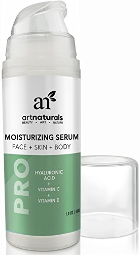 ArtNaturals Hyaluronic Acid Serum 100% Pure 1 oz with Vitamins C and E For Face & Skin, Natural & Organic Ingredients, Green Tea, Aloe, Witch Hazel, Jojoba Extracts - Best Anti Aging Cream Day & Night Review