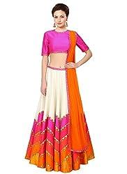 Sanjana Pink Leheriya Style Navratri Special Semi Stitched Lehenga Choli