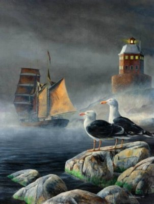 Cheap SunsOut Lighthouse and Seagulls 500pc Jigsaw Puzzle by Kevin Daniels (B0037V0TXM)