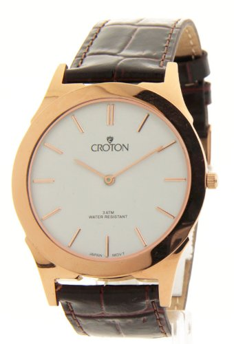 Mens Croton Brown Leather Slim Casual Watch Cn307464rgdw