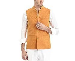 Yell Men's Regular Fit Nehru Jacket (YLWC/907-Orange-XL_Orange_XL)