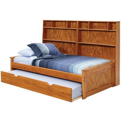 Chelsea Home Twin Captain Bed With Wall Bookcase And Trundle