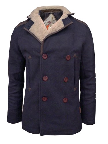 Mens Bellfield Scout Coat Sherpa Collar (Large, Dark Navy)