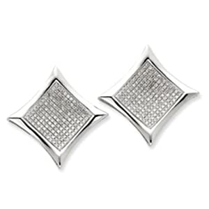 14k Gold White Gold Diamond Large Square Bezel Post Earrings